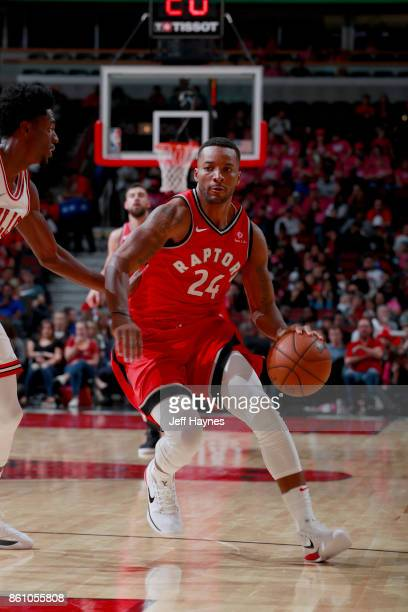 Norman Powell of the Toronto Raptors handles the ball against the Chicago Bulls on October 13 2017 at the United Center in Chicago Illinois NOTE TO...