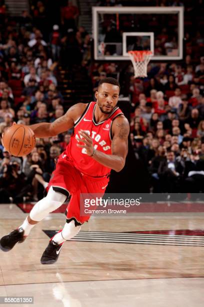 Norman Powell of the Toronto Raptors handles the ball during the preseason game against the Portland Trail Blazerson October 5 2017 at the Moda...