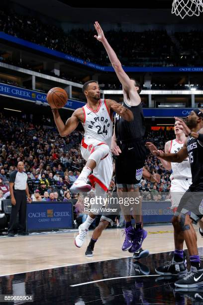 Norman Powell of the Toronto Raptors passes the ball during the game against the Sacramento Kings on December 10 2017 at Golden 1 Center in...