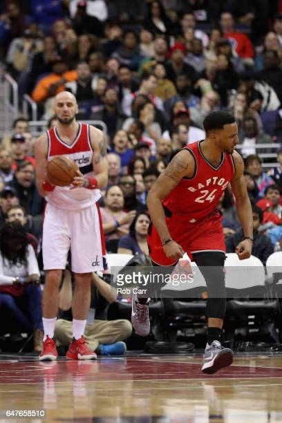 Norman Powell of the Toronto Raptors reacts after making a basket in the fourth quarter against the Washington Wizards at Verizon Center on March 3...