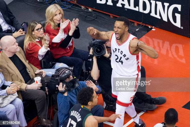 TORONTO ON APRIL 24 Norman Powell of the Toronto Raptors reacts after making a basket during the first half of NBA action as the Toronto Raptors host...