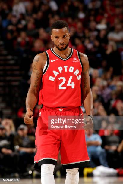 Norman Powell of the Toronto Raptors reacts during the preseason game against the Portland Trail Blazers on October 5 2017 at the Moda Center in...