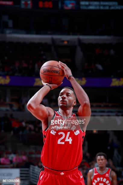 Norman Powell of the Toronto Raptors shoots a free throw against the Chicago Bulls on October 13 2017 at the United Center in Chicago Illinois NOTE...