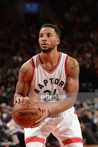 Norman Powell of the Toronto Raptors shoots a free throw during a game against the Phoenix Suns on January 22 2017 at the Air Canada Centre in...
