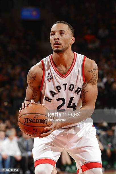 Norman Powell of the Toronto Raptors shoots a free throw during the game against the Boston Celtics on March 18 2016 at the Air Canada Centre in...