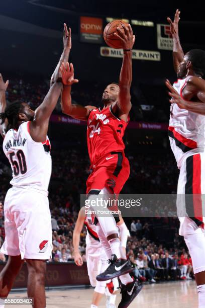 Norman Powell of the Toronto Raptors shoots a lay up during the game against the Portland Trail Blazers during a preseason game on October 5 2017 at...
