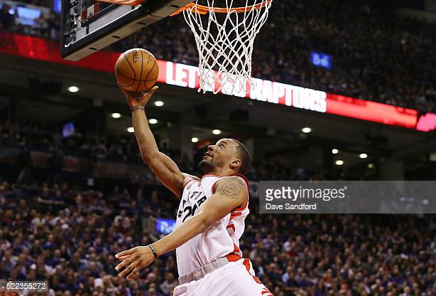 Norman Powell of the Toronto Raptors shoots a layup against the Indiana Pacers in Game Two of the Eastern Conference Quarterfinals during the 2016...