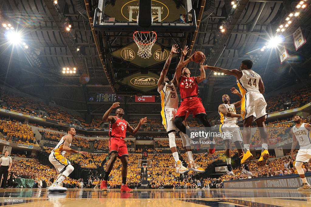 <a gi-track='captionPersonalityLinkClicked' href=/galleries/search?phrase=Norman+Powell+-+Basketspelare&family=editorial&specificpeople=14619471 ng-click='$event.stopPropagation()'>Norman Powell</a> #24 of the Toronto Raptors shoots the ball against the Indiana Pacers in Game Six of the Eastern Conference Quarterfinals during the 2016 NBA Playoffs on April 29, 2016 at Bankers Life Fieldhouse in Indianapolis, Indiana.