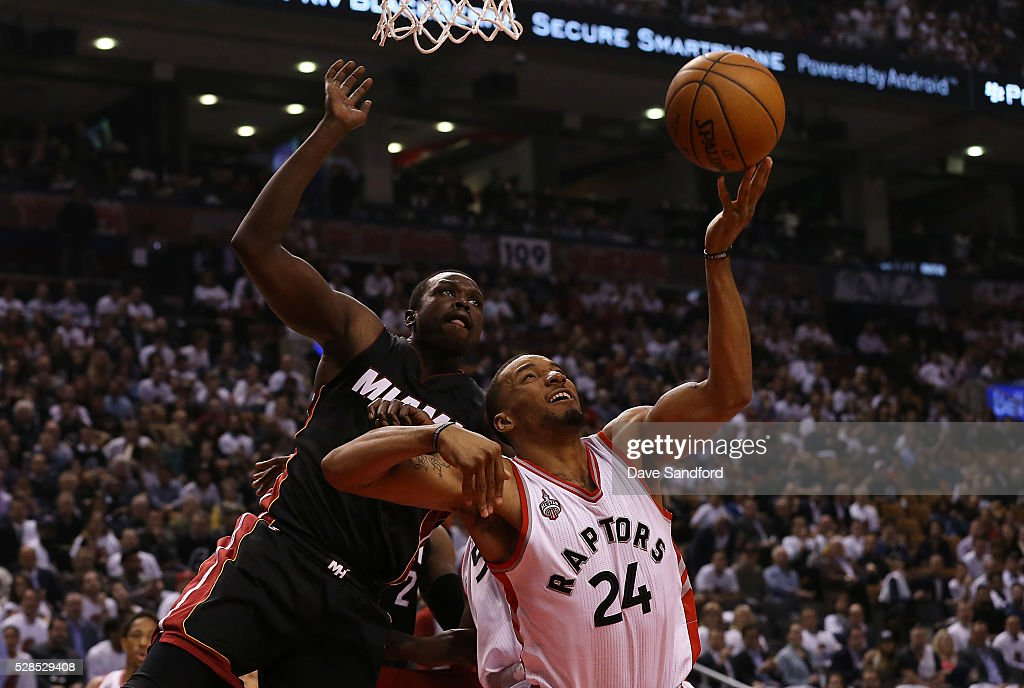 Norman Powell #24 of the Toronto Raptors shoots the ball against the Miami Heat in Game Two of the Eastern Conference Semifinals on May 5, 2016 at the Air Canada Centre in Toronto, Ontario, Canada.