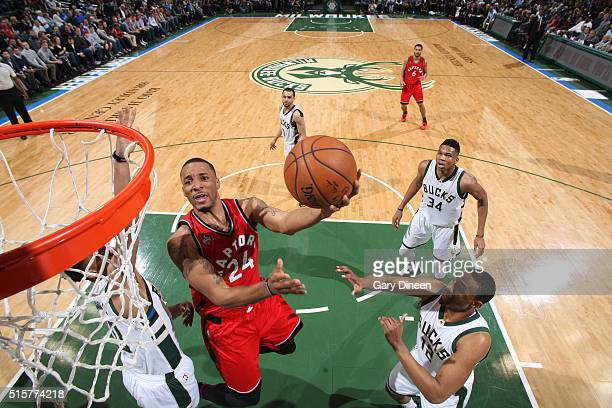 Norman Powell of the Toronto Raptors shoots the ball against the Milwaukee Bucks on March 15 2016 at the BMO Harris Bradley Center in Milwaukee...