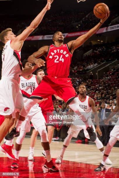 Norman Powell of the Toronto Raptors shoots the ball during the preseason game against the Portland Trail Blazers on October 5 2017 at the Moda...