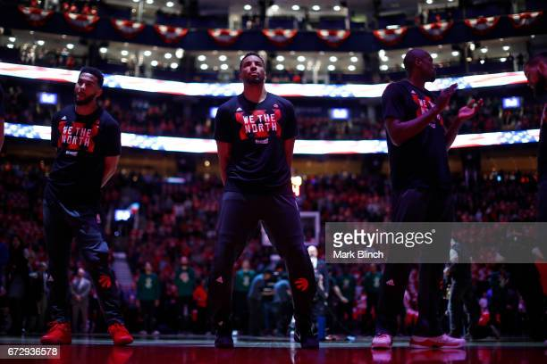 Norman Powell of the Toronto Raptors stands for the national anthem before the game against the Toronto Raptors during Game Five of the Eastern...