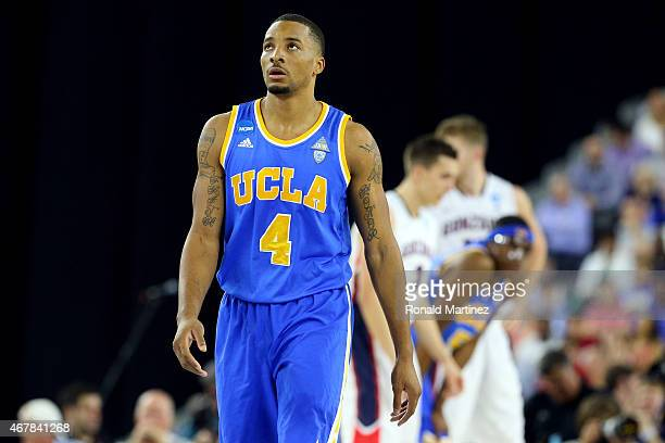 Norman Powell of the UCLA Bruins looks on against the Gonzaga Bulldogs during a South Regional Semifinal game of the 2015 NCAA Men's Basketball...