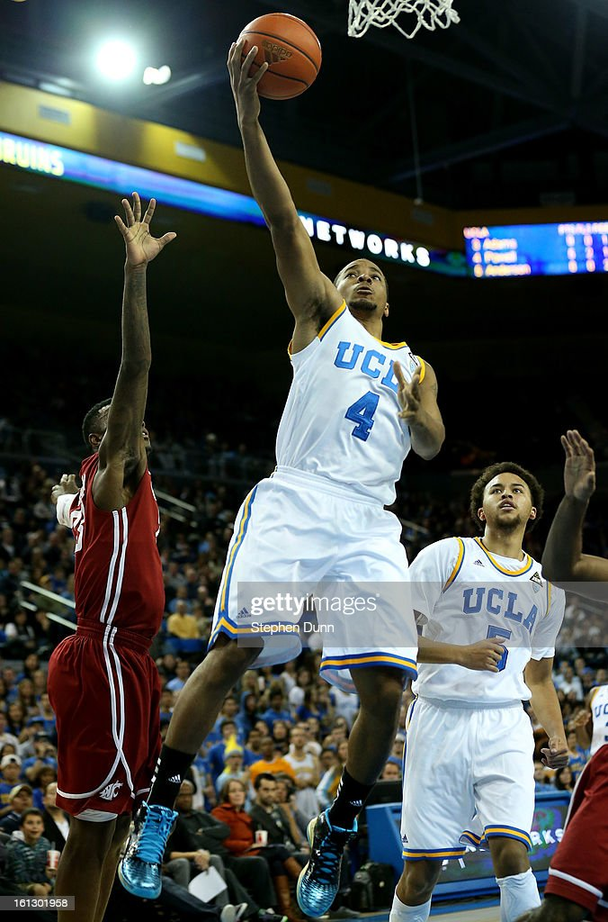 Norman Powell #4 of the UCLA Bruins shootws against the Washington State Cougars at Pauley Pavilion on February 9, 2013 in Los Angeles, California. UCLA won 76-62.