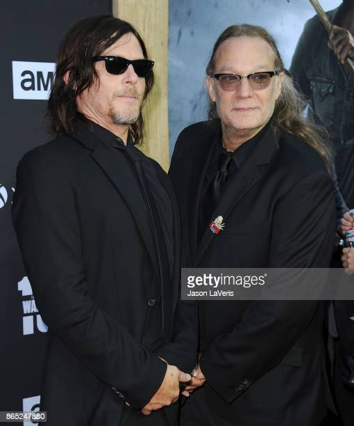 Norman Reedus and Greg Nicotero attend the 100th episode celebration off 'The Walking Dead' at The Greek Theatre on October 22 2017 in Los Angeles...