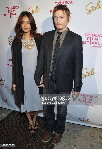 Norman Reedus and Jarah Mariano attends the after party for the premiere of 'Meskada' during the 9th Annual Tribeca Film Festival at Libation on...