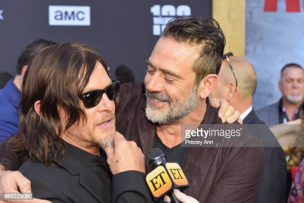 Norman Reedus and Jeffrey Dean Morgan attend AMC Celebrates The 100th Episode Of 'The Walking Dead' Arrivals at The Greek Theatre on October 22 2017...