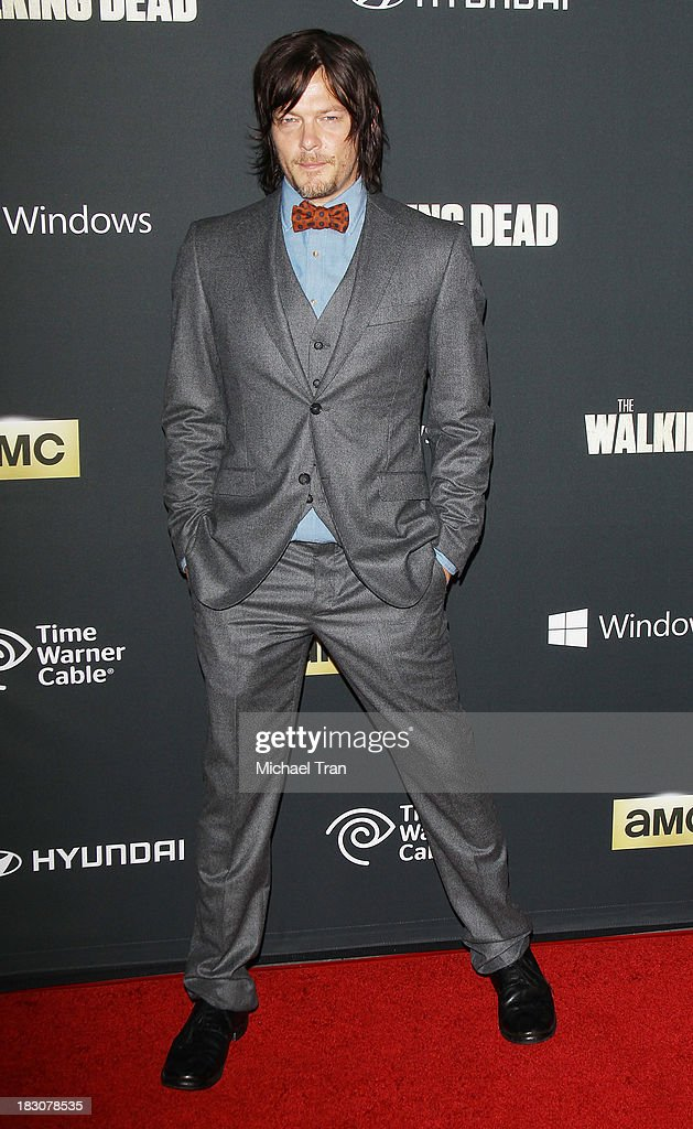 Norman Reedus arrives at the Los Angeles premiere of AMC's 'The Walking Dead' 4th season held at Universal CityWalk on October 3, 2013 in Universal City, California.
