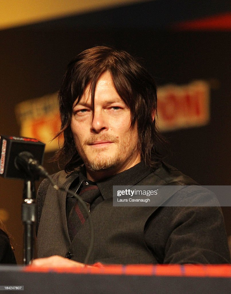 <a gi-track='captionPersonalityLinkClicked' href=/galleries/search?phrase=Norman+Reedus&family=editorial&specificpeople=747258 ng-click='$event.stopPropagation()'>Norman Reedus</a> attends 'The Walking Dead' Panel at New York Comic Con at Jacob Javits Center on October 12, 2013 in New York City.