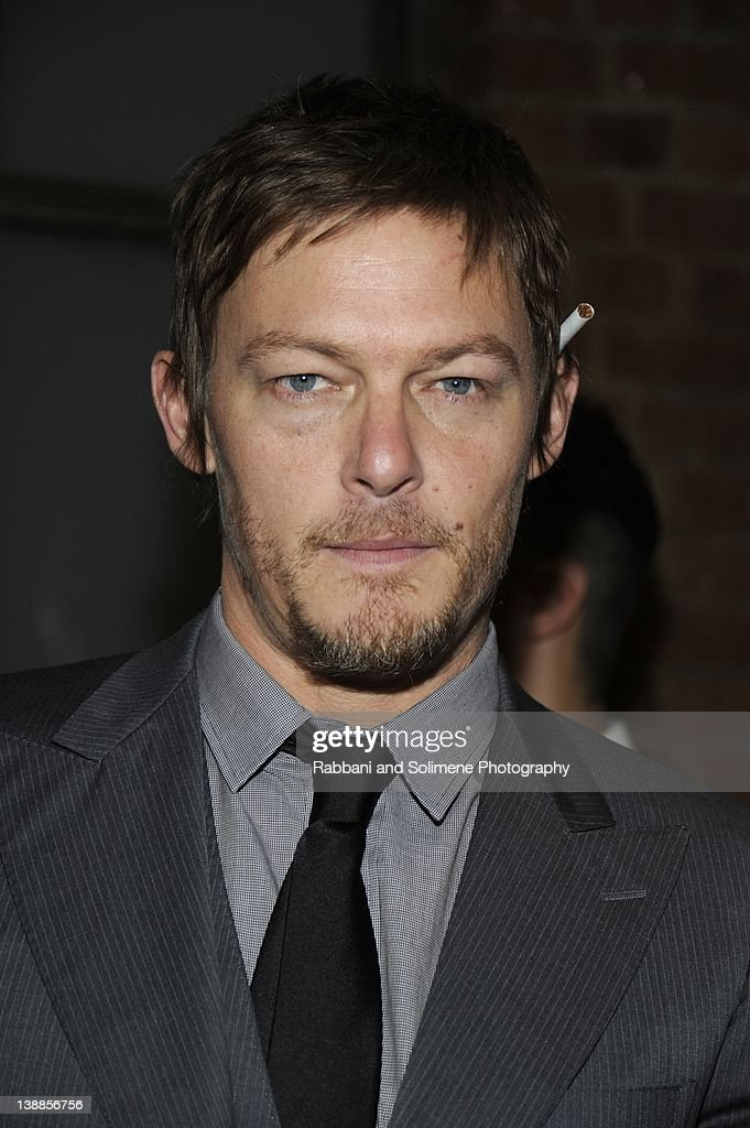 Norman Reedus backstage at the Simon Spurr fall 2012 fashion show during Mercedes-Benz Fashion Week at Milk Studios on February 12, 2012 in New York City.