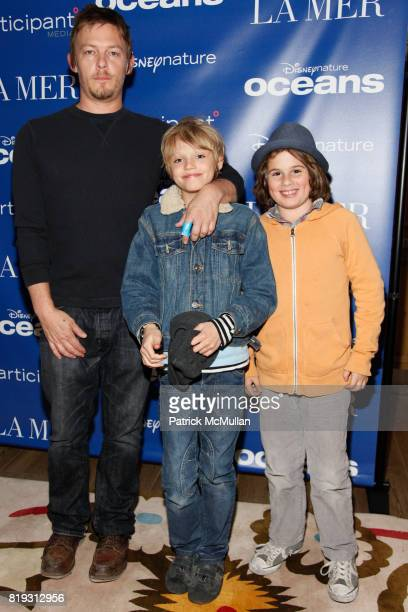 Norman Reedus Mingus Reedus and Truman Gaynes attend LA MER hosts special screening and reception for Disneynature's 'OCEANS' at Crosby Hotel on...