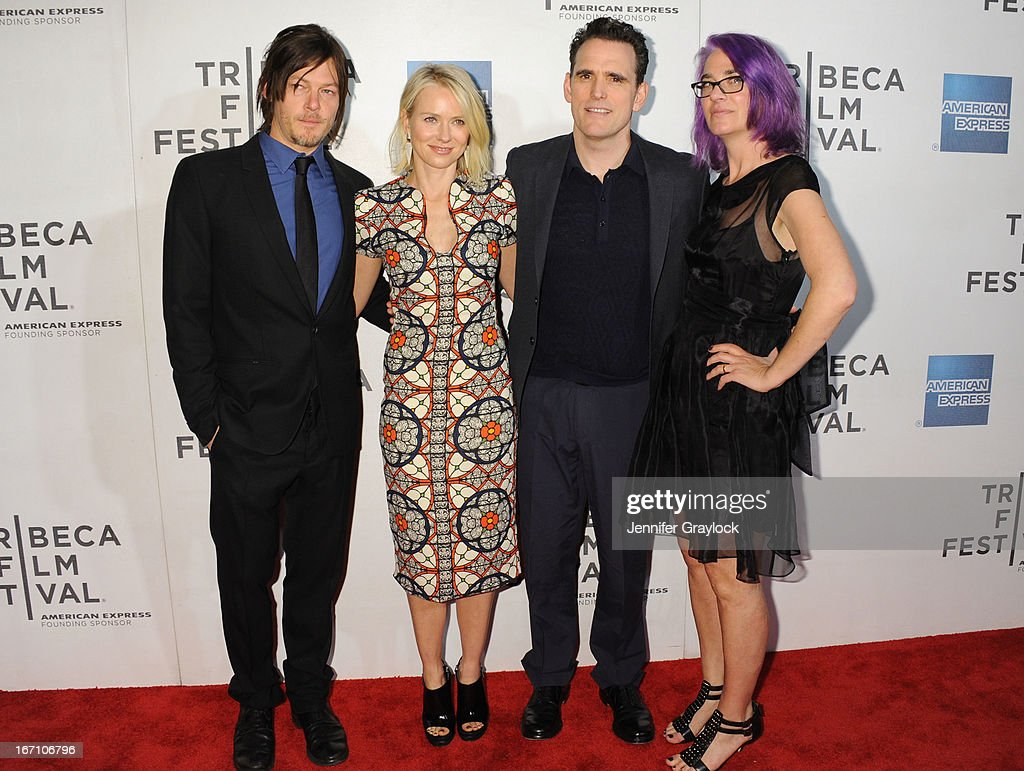 <a gi-track='captionPersonalityLinkClicked' href=/galleries/search?phrase=Norman+Reedus&family=editorial&specificpeople=747258 ng-click='$event.stopPropagation()'>Norman Reedus</a>, <a gi-track='captionPersonalityLinkClicked' href=/galleries/search?phrase=Naomi+Watts&family=editorial&specificpeople=171723 ng-click='$event.stopPropagation()'>Naomi Watts</a>, <a gi-track='captionPersonalityLinkClicked' href=/galleries/search?phrase=Matt+Dillon+-+Actor&family=editorial&specificpeople=202099 ng-click='$event.stopPropagation()'>Matt Dillon</a> and Director <a gi-track='captionPersonalityLinkClicked' href=/galleries/search?phrase=Laurie+Collyer&family=editorial&specificpeople=761570 ng-click='$event.stopPropagation()'>Laurie Collyer</a> attend the screening of 'Sunlight Jr.' during the 2013 Tribeca Film Festival at BMCC Tribeca PAC on April 20, 2013 in New York City.