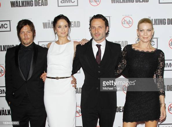 Norman Reedus Sarah Wayne Callies Andrew Lincoln and Laurie Holden arrive at AMC's 'The Walking Dead' season 3 premiere held at Universal CityWalk on...