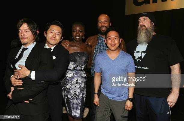 Norman Reedus Steven Yeun Danai Gurira Common Ming Chen and Bryan Johnson attend the AMC Upfront 2013 at the 69th Regiment Armory on April 17 2013 in...