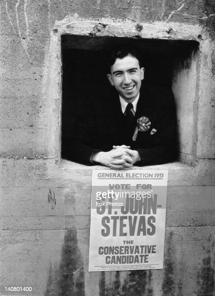 Norman St JohnStevas the Conservative candidate for Dagenham at a window of his Nissen hut campaign headquarters during the UK general election 19th...