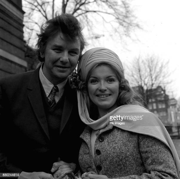 Norman Warwick and film actress Hannah Gordon leave Hampstead Register office Haverstock Hill London after their wedding ceremony The couple met...