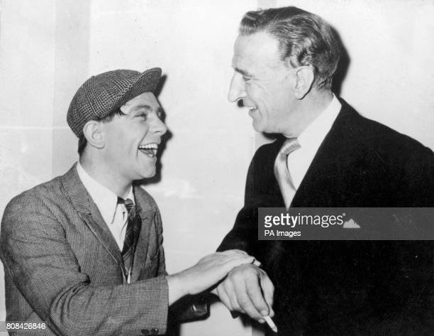 Norman Wisdom and Jerry Desmonde meet on the set at Pinewood Studios where hoping to repeat the success of their screen partnership in the picture...