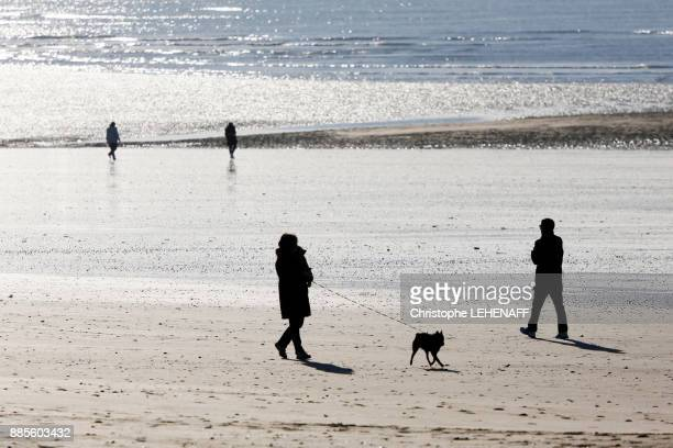 Normandy. Manche. Annoville sur Mer. People walking along the beach at high tide during the Christmas period.