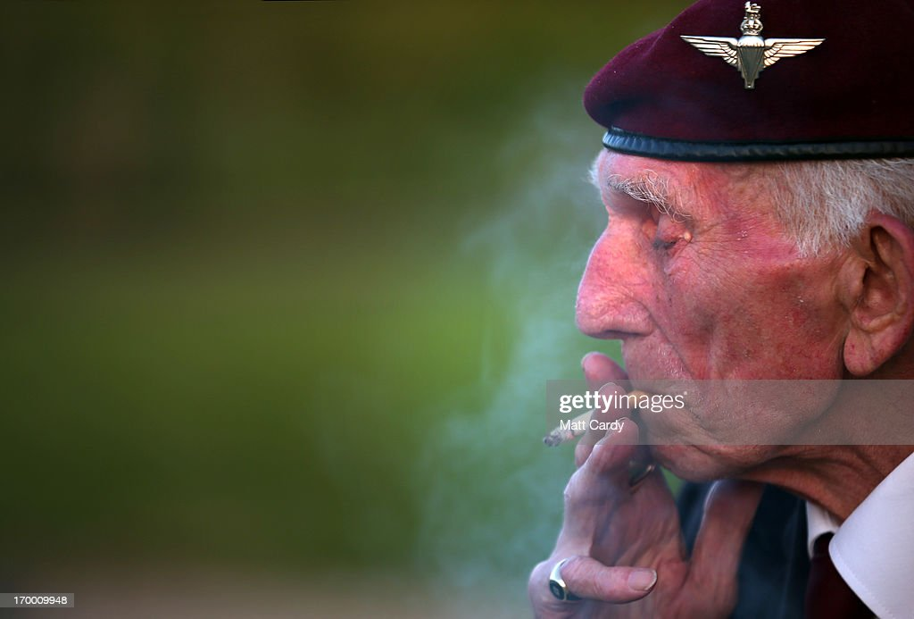 Normandy veteran Douglas Baines, 89, (who was a paratrooper dropped into Normandy in the early hours of D-Day) smokes a cigarette as he visits the Pegasus Bridge Memorial Museum on June 5, 2013 near Caen, France. Across Normandy several hundred of the surviving veterans of the Normandy campaign are gathering to commemorate the 69th anniversary of the D-Day landings which eventually led to the Allied liberation of France in 1944. Next year, which will mark the 70th anniversary of the landings, is widely expected to be the last time that the veterans will gather in any great number.
