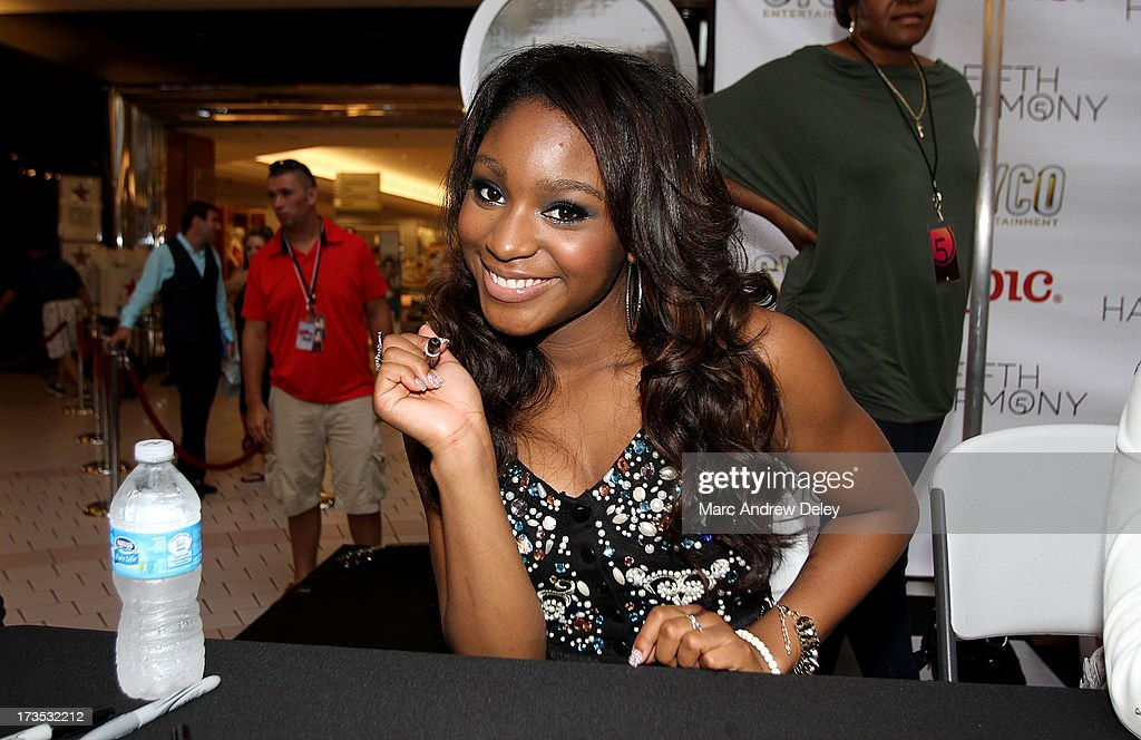 Normani Hamilton of <a gi-track='captionPersonalityLinkClicked' href=/galleries/search?phrase=Fifth+Harmony&family=editorial&specificpeople=9960104 ng-click='$event.stopPropagation()'>Fifth Harmony</a> at the Square One Mall on July 15, 2013 in Saugus, Massachusetts.
