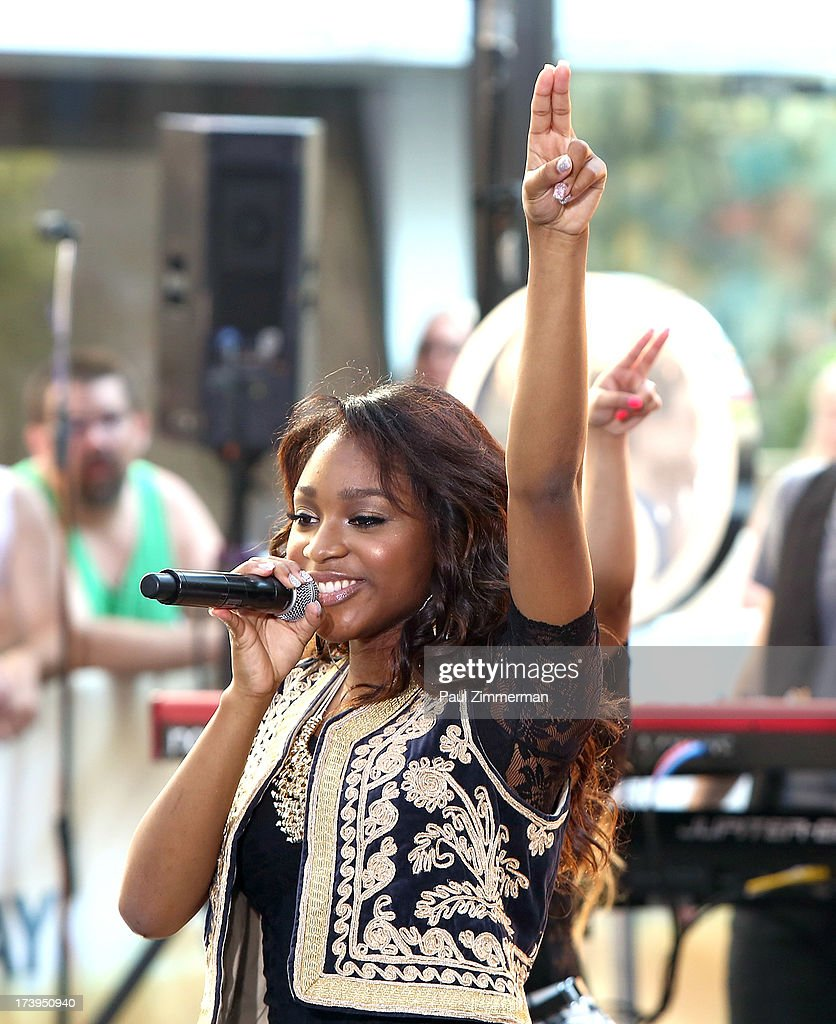 Normani Hamilton of the band Fifth Harmony performs on NBC's 'Today' at Rockefeller Plaza on July 18, 2013 in New York City.