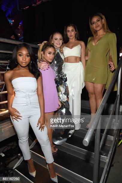 Normani Kordei and Ally Brooke of Fifth Harmony Zara Larsson and Lauren Jauregui and Dinah Jane of Fifth Harmony attend the Teen Choice Awards 2017...