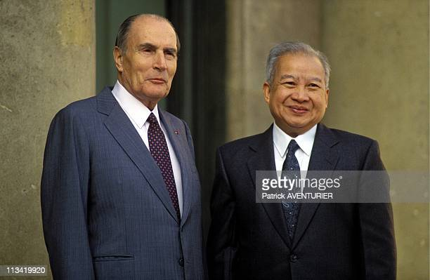Norodom Sihanouk And Francois Mitterrand On September 14th 1991 In Paris France