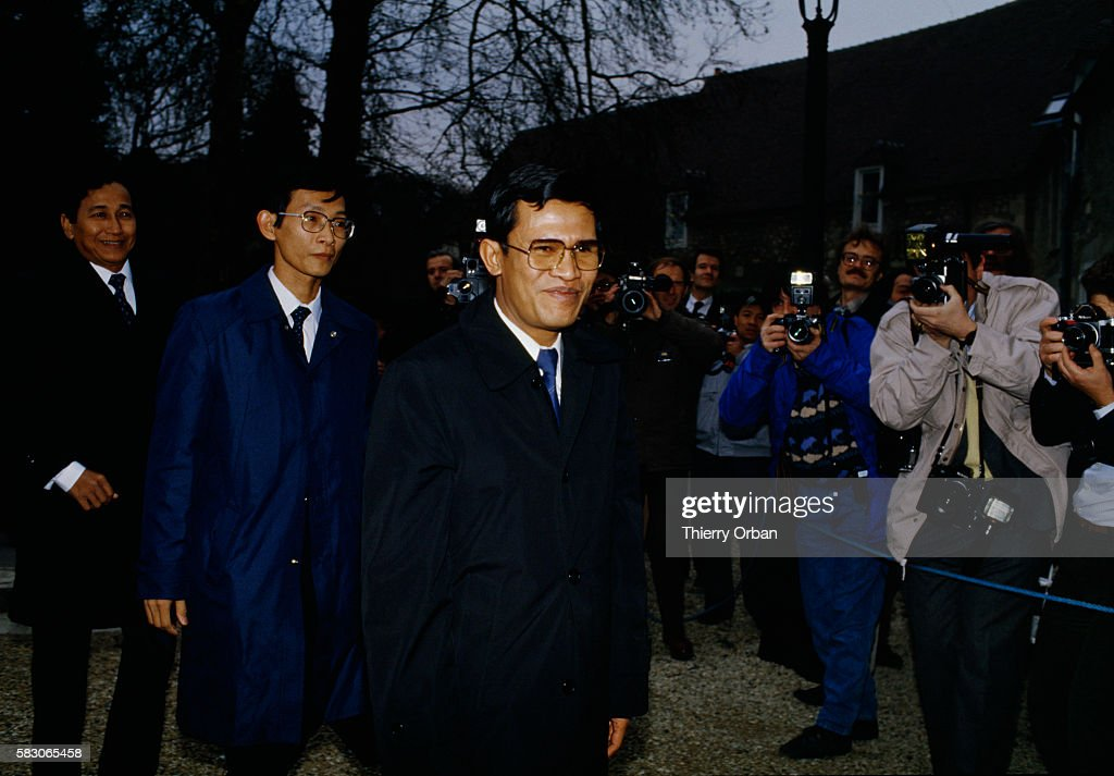 Norodom Sihanouk former King and Cambodian head of state is in FereenTardenois France to meet with Cambodian prime minister Hun Sen The two leaders...