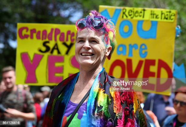 Norrie looks on during a speech at the YES March for Marriage Equality on October 21 2017 in Sydney Australia Australians are currently taking part...
