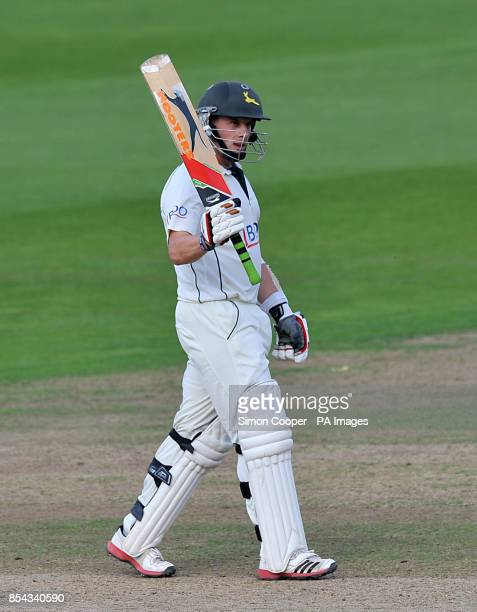 Norringhamshire's Steven Mullaney celebrates reaching his half century during the LV= County Championship Division One match at Trent Bridge...