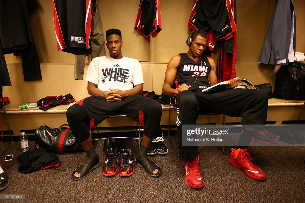 Norris Cole and James Jones of the Miami Heat before the game against the Indiana Pacers in Game Two of the Eastern Conference Finals during the 2014...