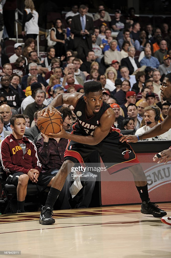 <a gi-track='captionPersonalityLinkClicked' href=/galleries/search?phrase=Norris+Cole&family=editorial&specificpeople=5770147 ng-click='$event.stopPropagation()'>Norris Cole</a> #30 of the Miami Heat controls the ball against the Cleveland Cavaliers at The Quicken Loans Arena on April 15, 2013 in Cleveland, Ohio.