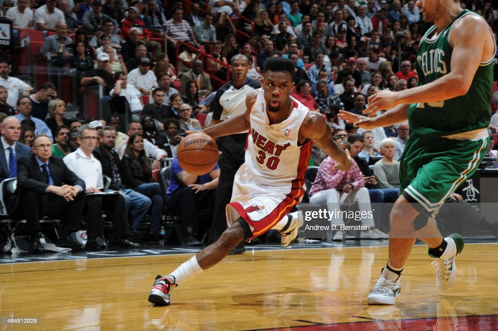 <a gi-track='captionPersonalityLinkClicked' href=/galleries/search?phrase=Norris+Cole&family=editorial&specificpeople=5770147 ng-click='$event.stopPropagation()'>Norris Cole</a> #30 of the Miami Heat handles the ball against the Boston Celtics at the American Airlines Arena in Miami, Florida on January 21, 2014.