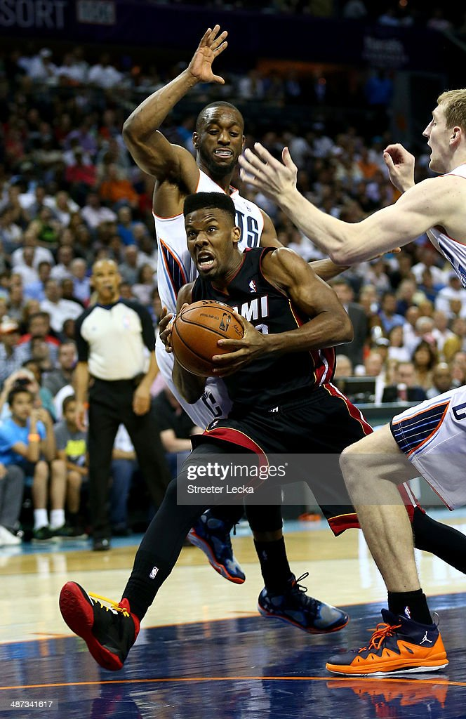 Norris Cole #30 of the Miami Heat in Game Four of the Eastern Conference Quarterfinals during the 2014 NBA Playoffs at Time Warner Cable Arena on April 28, 2014 in Charlotte, North Carolina.