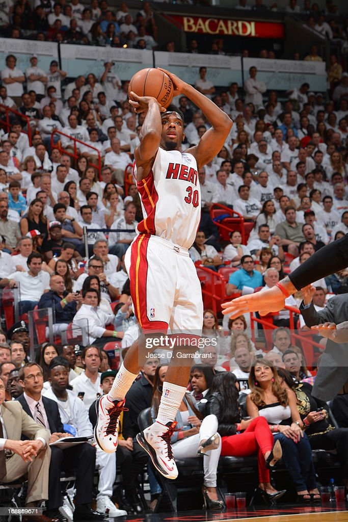 <a gi-track='captionPersonalityLinkClicked' href=/galleries/search?phrase=Norris+Cole&family=editorial&specificpeople=5770147 ng-click='$event.stopPropagation()'>Norris Cole</a> #30 of the Miami Heat shoots against the Chicago Bulls in Game Five of the Eastern Conference Semifinals during the 2013 NBA Playoffs on May 15, 2013 at American Airlines Arena in Miami, Florida.