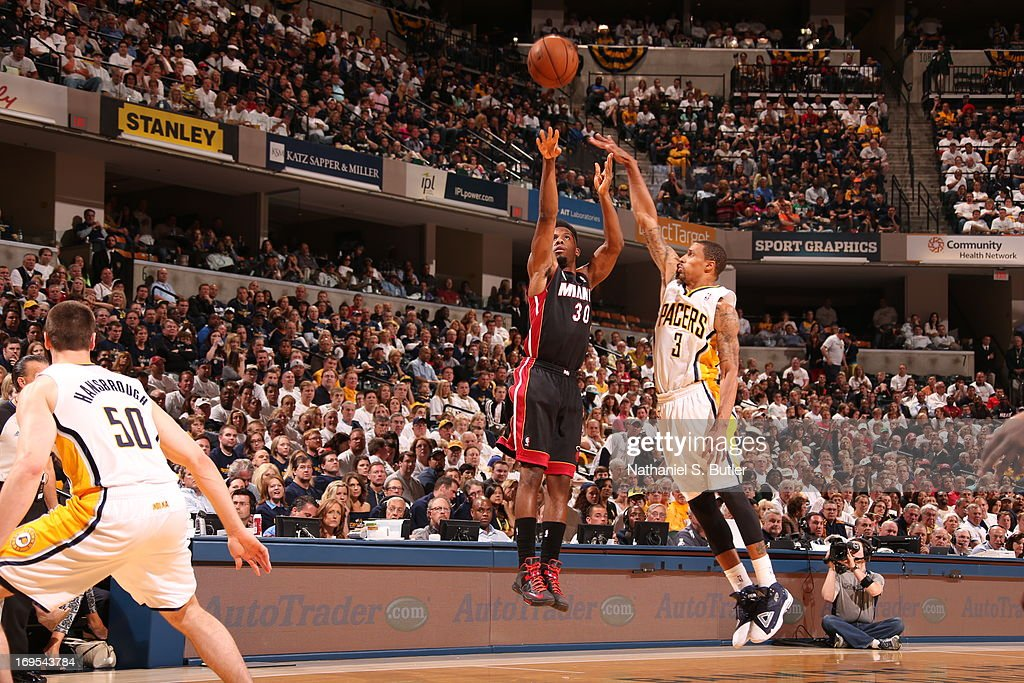 <a gi-track='captionPersonalityLinkClicked' href=/galleries/search?phrase=Norris+Cole&family=editorial&specificpeople=5770147 ng-click='$event.stopPropagation()'>Norris Cole</a> #30 of the Miami Heat shoots the ball against George Hill #3 of the Indiana Pacers in Game Three of the Eastern Conference Finals during the 2013 NBA Playoffs on May 26, 2013 at Bankers Life Fieldhouse in Indianapolis, Indiana.