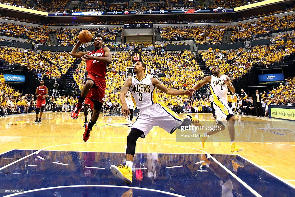 <a gi-track='captionPersonalityLinkClicked' href=/galleries/search?phrase=Norris+Cole&family=editorial&specificpeople=5770147 ng-click='$event.stopPropagation()'>Norris Cole</a> #30 of the Miami Heat shoots the ball against George Hill #3 of the Indiana Pacers in Game Six of the Eastern Conference Finals during the 2013 NBA Playoffs at Bankers Life Fieldhouse on June 1, 2013 in Indianapolis, Indiana.