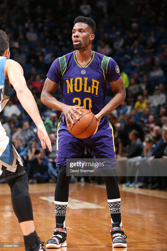 <a gi-track='captionPersonalityLinkClicked' href=/galleries/search?phrase=Norris+Cole&family=editorial&specificpeople=5770147 ng-click='$event.stopPropagation()'>Norris Cole</a> #30 of the New Orleans Pelicans defends the ball against the Minnesota Timberwolves during the game on February 8, 2016 at Target Center in Minneapolis, Minnesota.