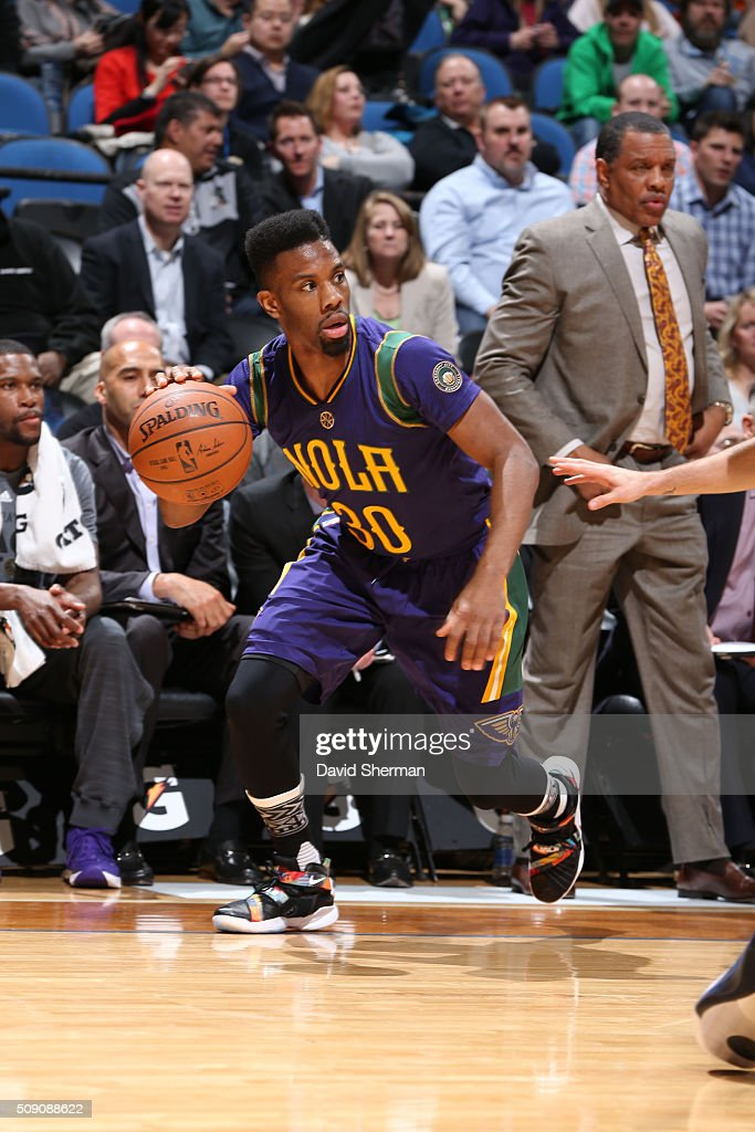 <a gi-track='captionPersonalityLinkClicked' href=/galleries/search?phrase=Norris+Cole&family=editorial&specificpeople=5770147 ng-click='$event.stopPropagation()'>Norris Cole</a> #30 of the New Orleans Pelicans drives against the Minnesota Timberwolves during the game on February 8, 2016 at Target Center in Minneapolis, Minnesota.