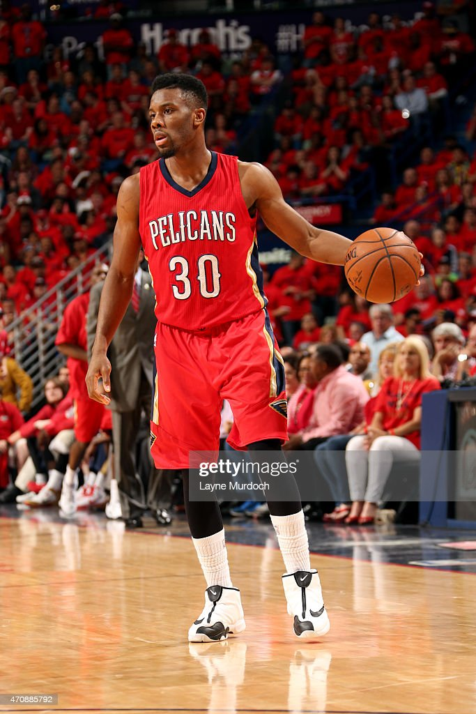 Norris Cole of the New Orleans Pelicans handles the ball against the Golden State Warriors in Game Three of the Western Conference Quarterfinals...